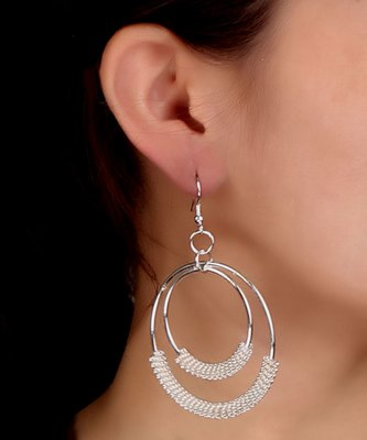 Hoop Danglers in silver and white