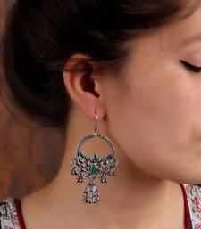 Chandbali Jhumki Earrings in Silver & Green