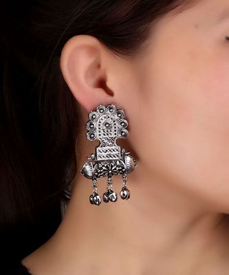 Taveez-style Statement Oxidized Earrings