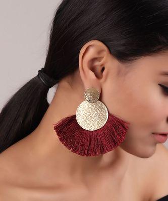 Edgy Maroon Tassel Golden Earrings