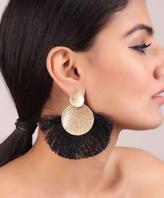 Edgy Black Tassel Golden Earrings
