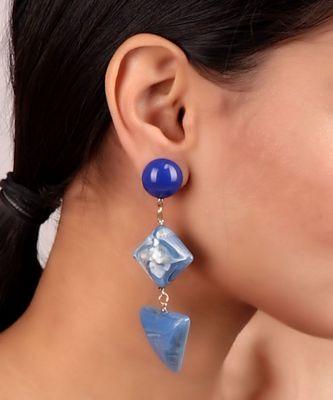 Shaded Blue Statement Earrings