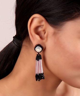 Crystal Beaded Earrings in Black-White