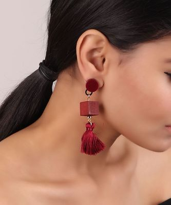 Maroon Geometric Earrings