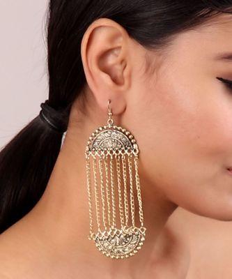 Golden Long chain Mughal Earrings