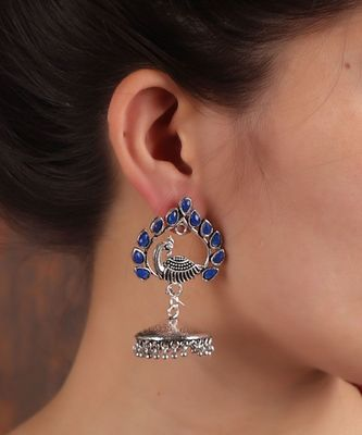 Blue Stone Silver Jhumkis