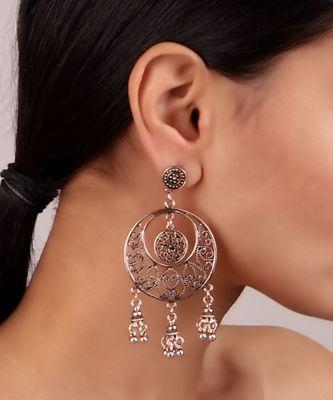 Silver Oxidized Chaandbali Earrings