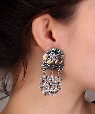 Peacock Designed Two-toned Earrings