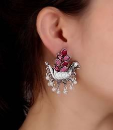 Bird Motif Pink-Silver Studs