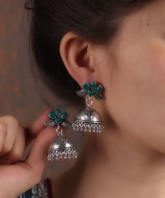 Flower-inspired Oxidized Silver Earrings
