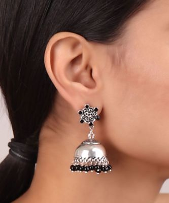 Plain Silver Jhumkis in Silver-Black