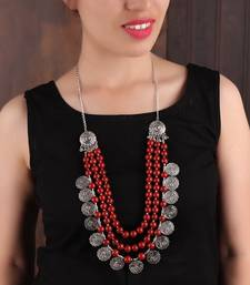 RED BEADED SILVER COIN NECKLACE