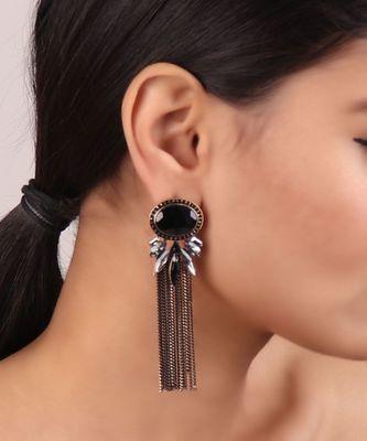 Crystal Tassel Earrings in Black