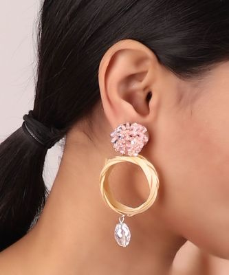 Beaded Circular Statement Earrings