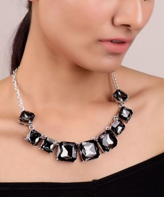 Square Crystal Short Necklace
