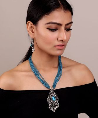 Blue-Oxidised Silver Statement Necklace Set