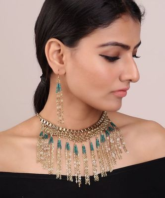 TEAL-GOLD CLASSIC BEADED NECKLACE SET