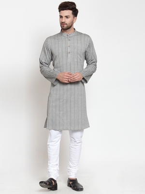 Grey hand woven cotton kurta-pajama