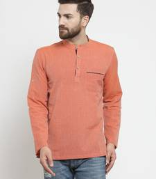 Orange Hand Woven Cotton Men Kurtas