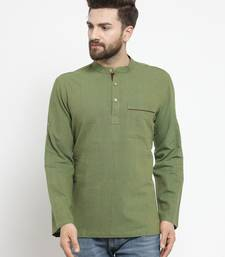 Green Hand Woven Cotton Men Kurtas