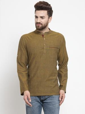 Green hand woven cotton men-kurtas