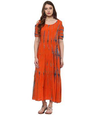 orange printed rayon stitched kurti