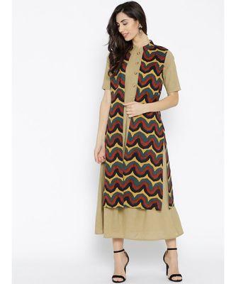 beige plain cotton stitched kurti