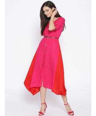 pink plain rayon stitched kurti