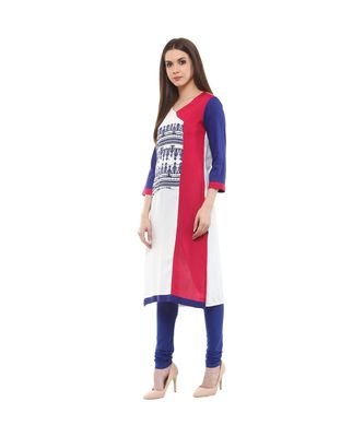 white printed rayon stitched kurti