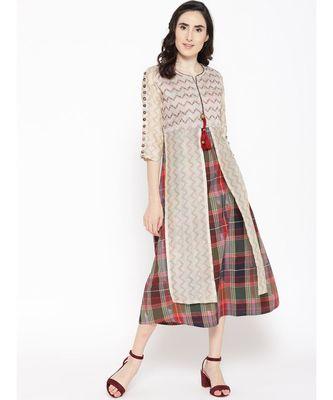off white printed chanderi stitched kurti