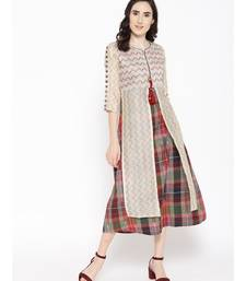 off white printed chanderi stitched kurti