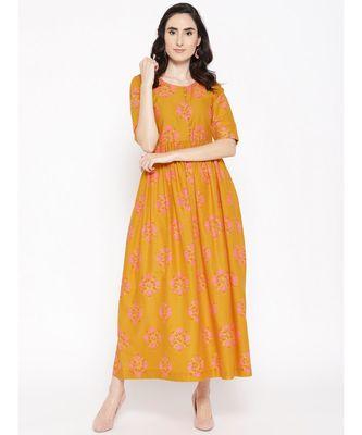 mustard printed cotton stitched kurti
