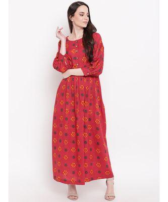 red printed cotton stitched kurti