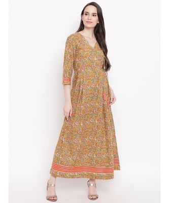 mustard printed cotton stitched kurti