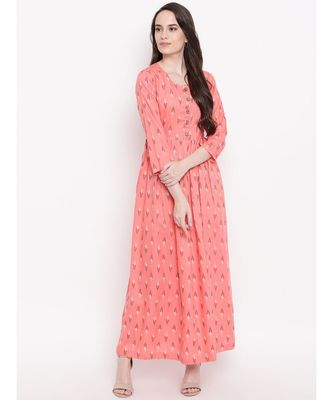 peach printed cotton stitched kurti