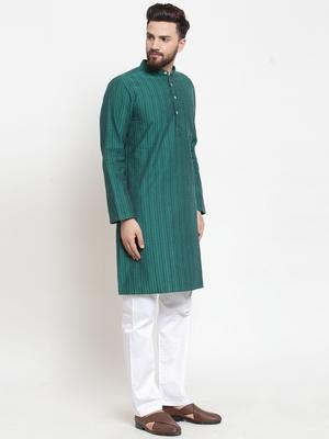 Green hand woven cotton kurta-pajama