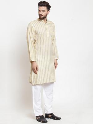 Yellow plain blended cotton kurta-pajama
