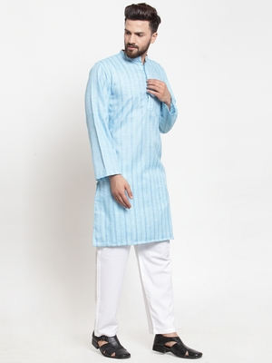 Blue plain blended cotton kurta-pajama