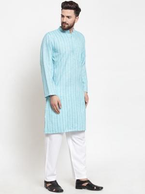 Sky Blue Plain Blended Cotton Kurta Pajama