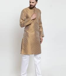 Brown Plain Jacquard Kurta Pajama