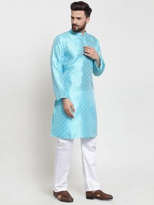 Turquoise plain jacquard kurta-pajama