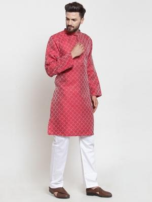 Red Plain Jacquard Kurta Pajama