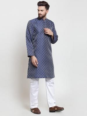 Blue plain jacquard kurta-pajama