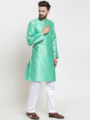 Green plain jacquard kurta-pajama