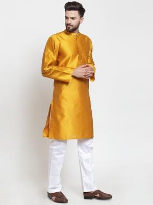 Yellow Plain Jacquard Kurta Pajama