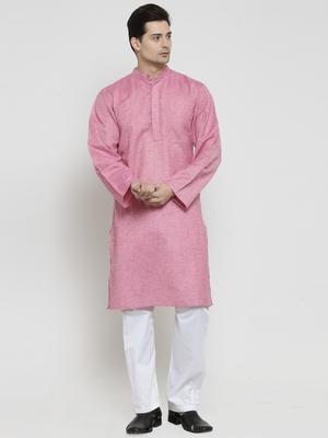 Pink plain blended cotton kurta-pajama
