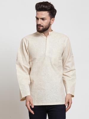 Grey plain blended cotton men-kurtas