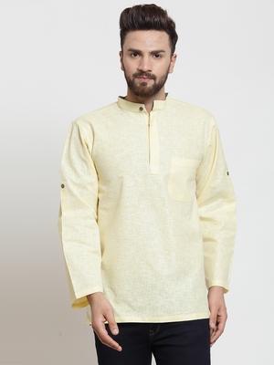 Yellow plain blended cotton men-kurtas