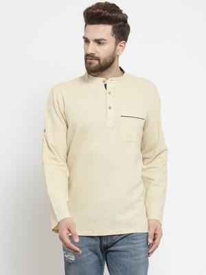 Cream hand woven cotton men-kurtas