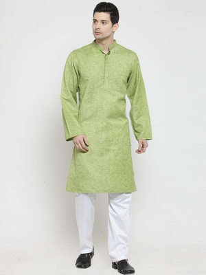Green plain blended cotton men-kurtas